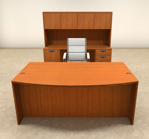 6pc Fan Front Modern Executive Office Desk Set, #OT-SUL-D5