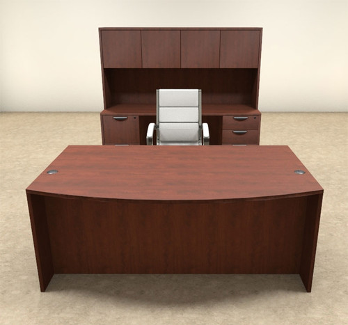 6pc Fan Front Modern Executive Office Desk Set, #OT-SUL-D6
