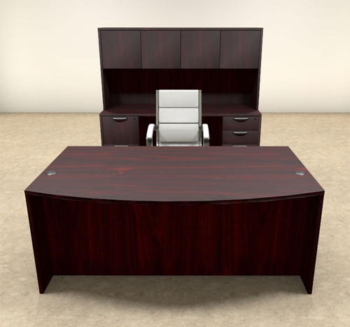 6pc Fan Front Modern Executive Office Desk Set, #OT-SUL-D7