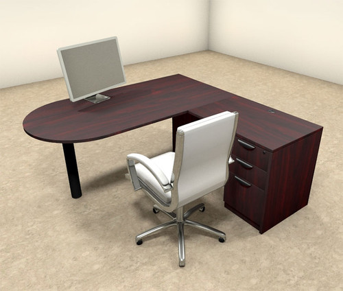3pc L Shaped Modern Executive Office Desk, #OT-SUL-L19