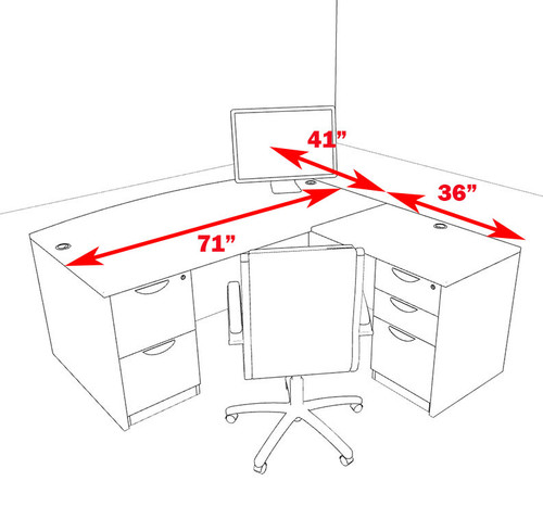 4pc L Shaped Modern Executive Office Desk, #OT-SUL-L4