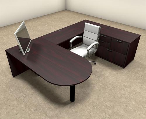 4pc U Shaped Modern Executive Office Desk, #OT-SUL-U11