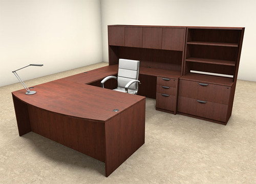 7pc U Shaped Modern Executive Office Desk, #OT-SUL-U18