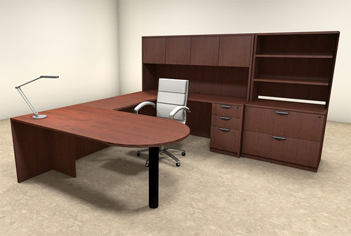 7pc U Shaped Modern Executive Office Desk, #OT-SUL-U22