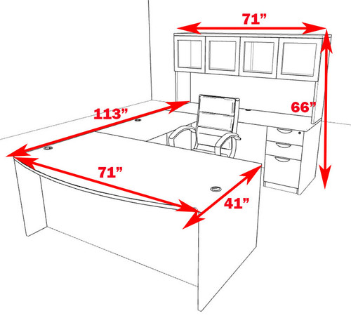 5pc U Shaped Modern Executive Office Desk, #OT-SUL-U40
