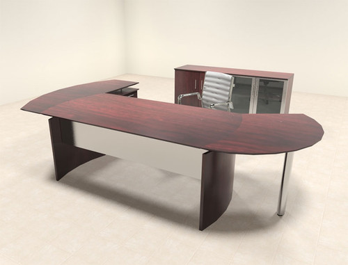 4pc Modern Contemporary L Shaped Executive Office Desk Set, #MT-MED-O11