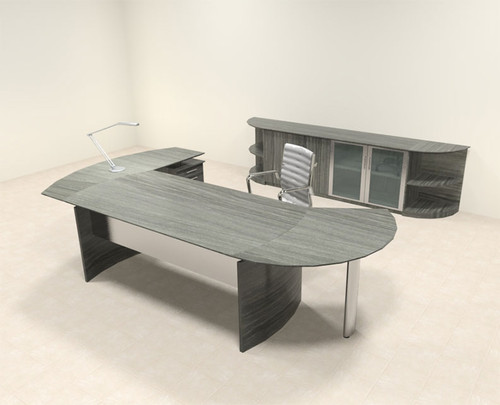 6pc Modern Contemporary L Shaped Executive Office Desk Set, #MT-MED-O13