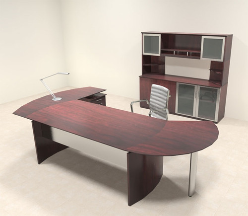 5pc Modern Contemporary L Shaped Executive Office Desk Set, #MT-MED-O17