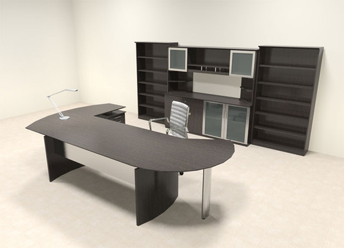 ... 7pc Modern Contemporary L Shaped Executive Office Desk Set, #MT MED O21