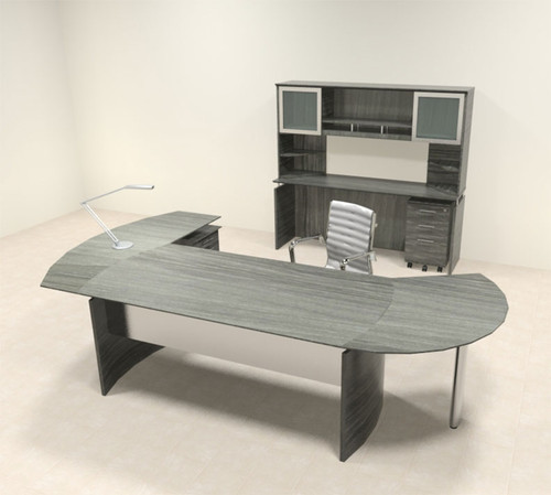 6pc Modern Contemporary L Shaped Executive Office Desk Set, #MT-MED-O22
