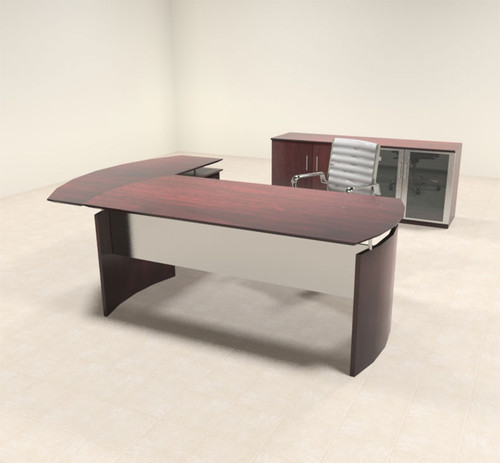 3pc Modern Contemporary L Shaped Executive Office Desk Set, #MT-MED-O29