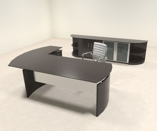 5pc Modern Contemporary L Shaped Executive Office Desk Set, #MT-MED-O33
