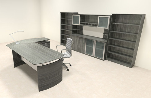 6pc Modern Contemporary L Shaped Executive Office Desk Set, #MT-MED-O37