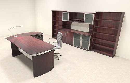 6pc Modern Contemporary L Shaped Executive Office Desk Set, #MT-MED-O38