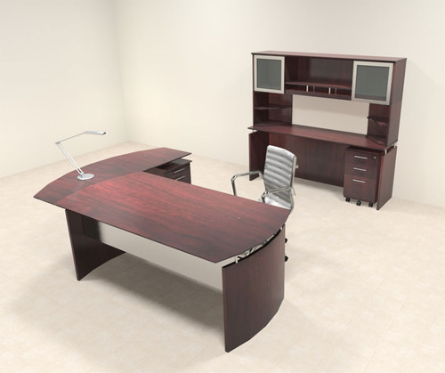 5pc Modern Contemporary L Shaped Executive Office Desk Set, #MT-MED-O41