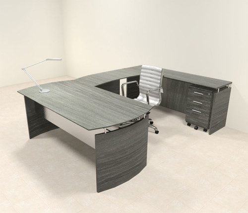 4pc Modern Contemporary U Shaped Executive Office Desk Set, ...