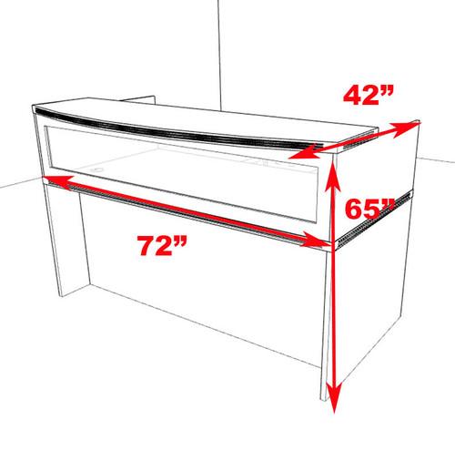 2pc Modern Contemporary Glass Reception Desk Set, #RO-ABD-R1