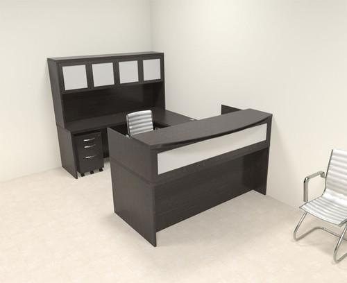 5pc Modern Contemporary U Shaped Glass Reception Desk Set, #RO-ABD-R12