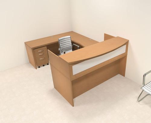 4pc Modern Contemporary U Shaped Glass Reception Desk Set, #RO-ABD-R7