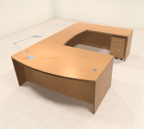 4pc Modern Contemporary U Shaped Executive Office Desk Set, #RO-ABD-U1