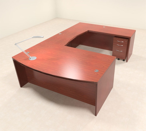 4pc Modern Contemporary U Shaped Executive Office Desk Set, #RO-ABD-U2