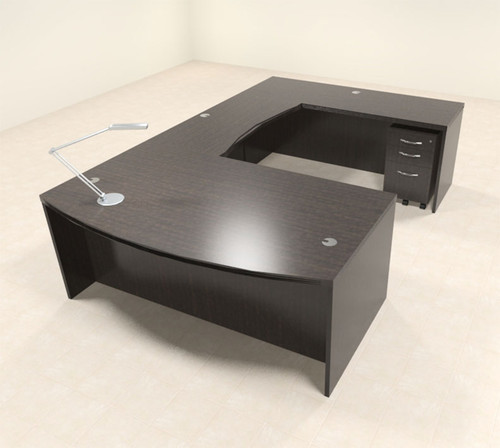 4pc Modern Contemporary U Shaped Executive Office Desk Set, #RO-ABD-U3