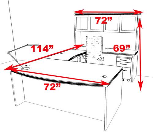 5pc Modern Contemporary U Shaped Executive Office Desk Set, #RO-ABD-U5