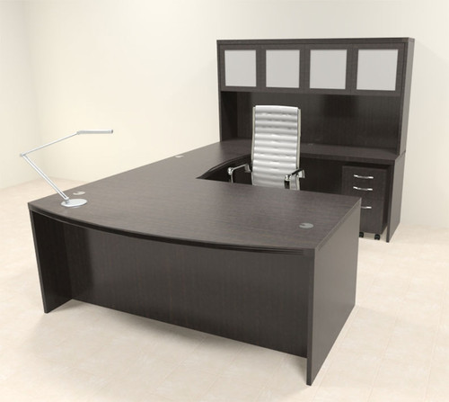 5pc Modern Contemporary U Shaped Executive Office Desk Set, #RO-ABD-U6