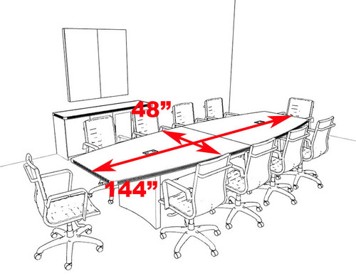Modern Contemporary Boat Shaped 12' Feet Conference Table, #RO-ABD-C12