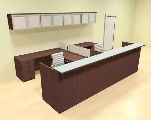 12pc 12' Feet U Shaped Glass Counter Reception Desk Set, #CH-AMB-R21