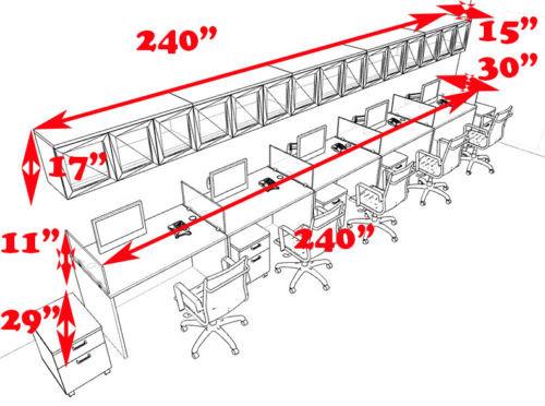 Five Person Modern Divider Office Workstation Desk Set, #CH-AMB-SP117