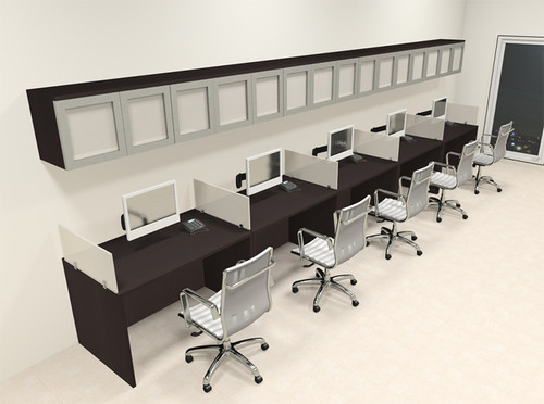 Five Person Modern Divider Office Workstation Desk Set, #CH-AMB-SP97