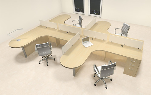 Four Person L Shaped Modern Divider Office Workstation Desk Set, #CH-AMB-SP10