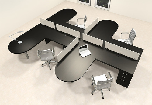 Four Person L Shaped Modern Divider Office Workstation Desk Set, #CH-AMB-SP23