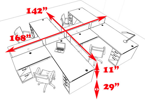 Four Person L Shaped Modern Divider Office Workstation Desk Set, #CH-AMB-SP37