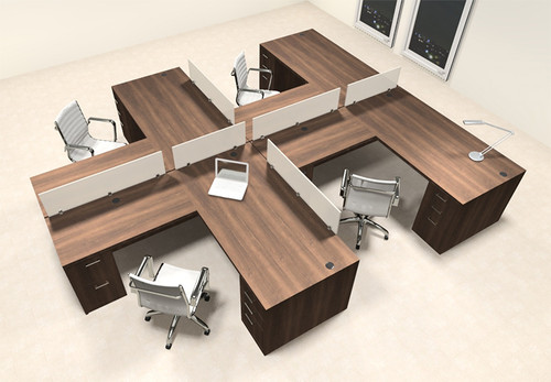 Four Person L Shaped Modern Divider Office Workstation Desk Set, #CH-AMB-SP39