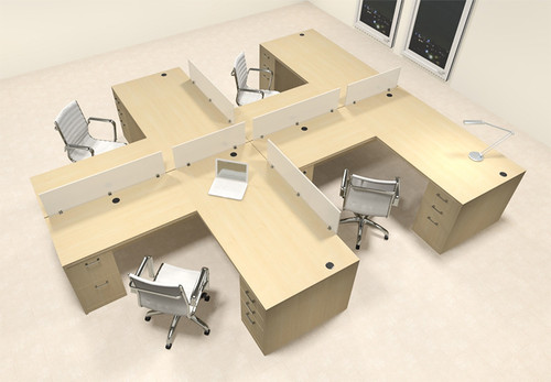 Four Person L Shaped Modern Divider Office Workstation Desk Set, #CH-AMB-SP40