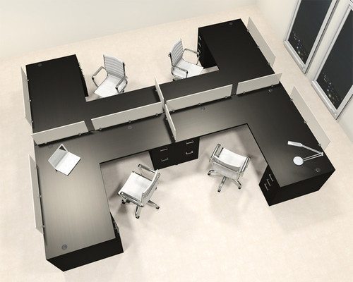 Four Person L Shaped Modern Divider Office Workstation Desk Set, #CH-AMB-SP48
