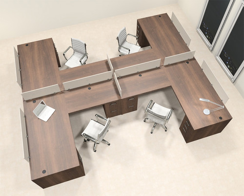 Four Person L Shaped Modern Divider Office Workstation Desk Set, #CH-AMB-SP49