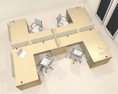 Four Person L Shaped Modern Divider Office Workstation Desk Set, #CH-AMB-SP50