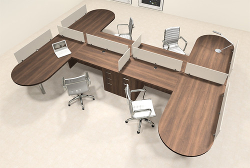 Four Person L Shaped Modern Divider Office Workstation Desk Set, #CH-AMB-SP54