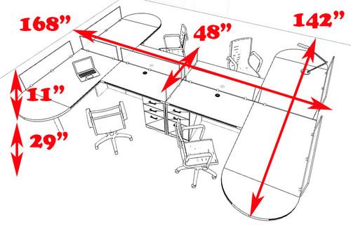 Four Person L Shaped Modern Divider Office Workstation Desk Set, #CH-AMB-SP55
