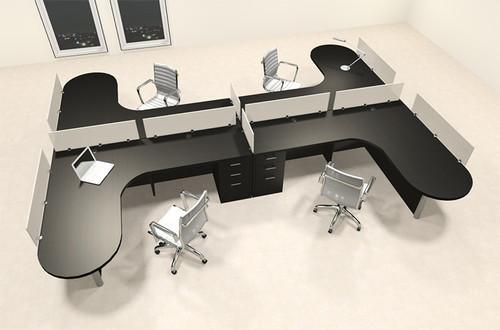 Four Person L Shaped Modern Divider Office Workstation Desk Set, #CH-AMB-SP58