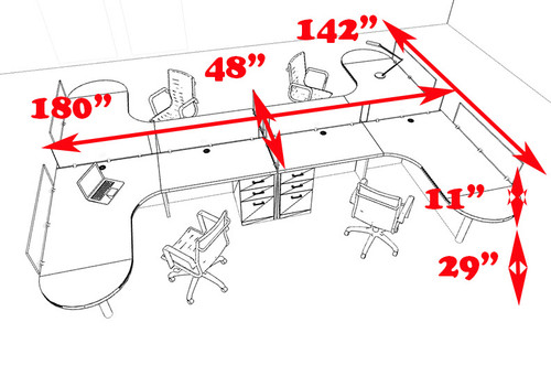 Four Person L Shaped Modern Divider Office Workstation Desk Set, #CH-AMB-SP60