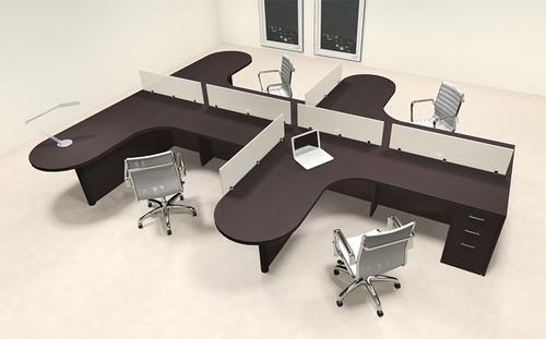 Four Person L Shaped Modern Divider Office Workstation Desk Set, #CH-AMB-SP7