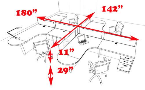 Four Person L Shaped Modern Divider Office Workstation Desk Set, #CH-AMB-SP9