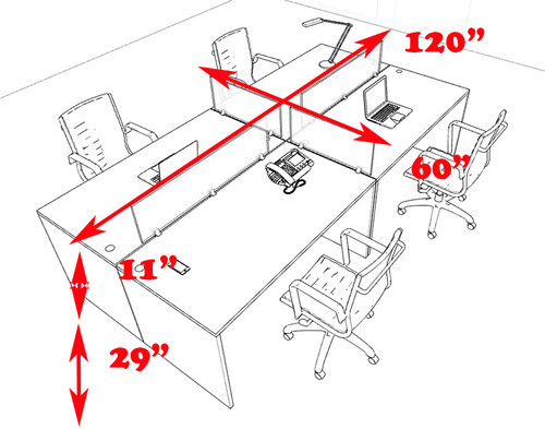 Four Persons Modern Office Divider Workstation Desk Set, #CH-AMB-FP31
