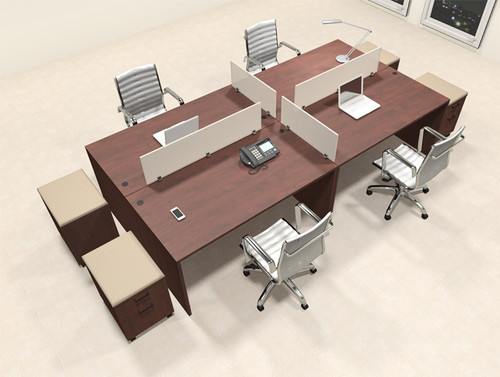 Four Persons Modern Office Divider Workstation Desk Set, #CH-AMB-FP36