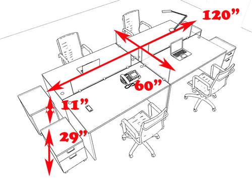 Four Persons Modern Office Divider Workstation Desk Set, #CH-AMB-FP37