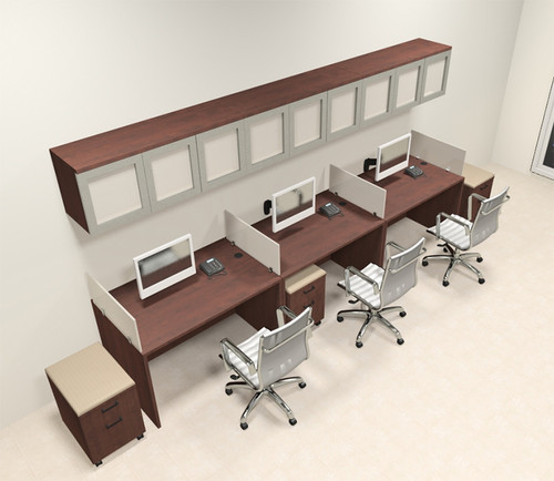 Three Person Modern Divider Office Workstation Desk Set, #CH-AMB-SP106